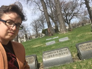 cemetery selfie with Dr Elizabeth Holton's grave