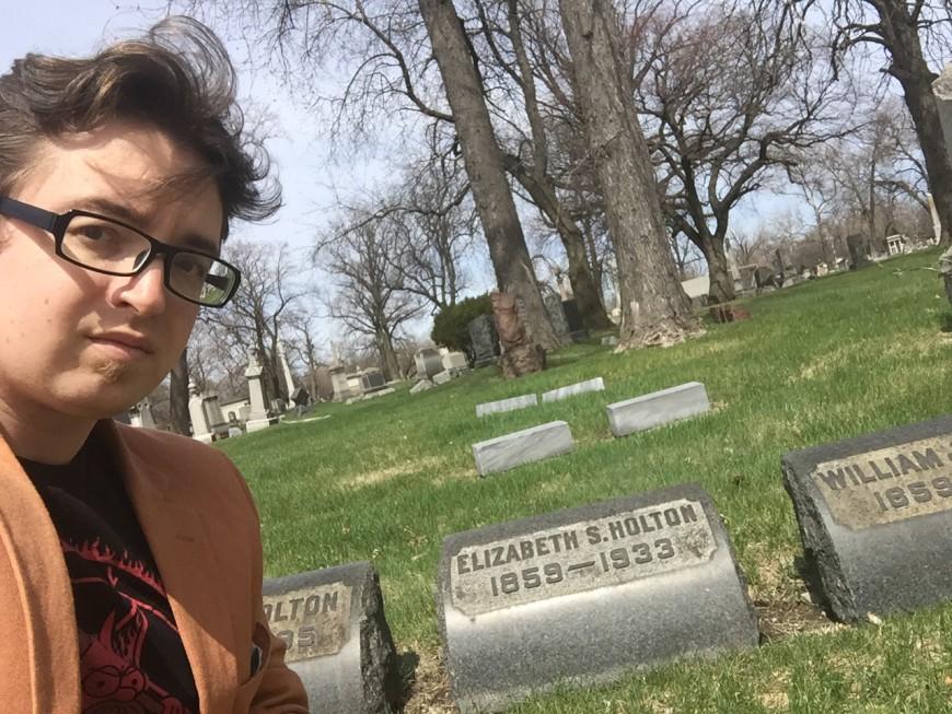 cemetery selfie with Dr Elizabeth Holton's grave