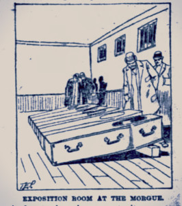 The Exposition Room at the new morgue, 1891