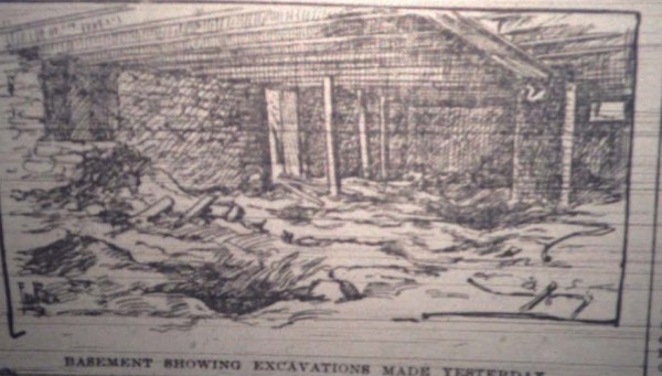 July 21, 1895, Chicago Times Herald Castle basement drawing.