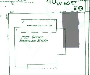 The post office in green, with gray outline of the castle, from layered fire insurance maps.