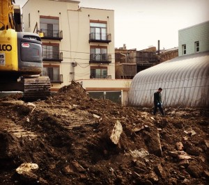 Excavating.