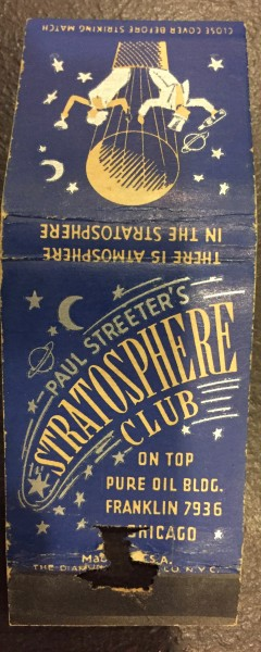 A Stratosphere Club matchbook I picked up on Ebay