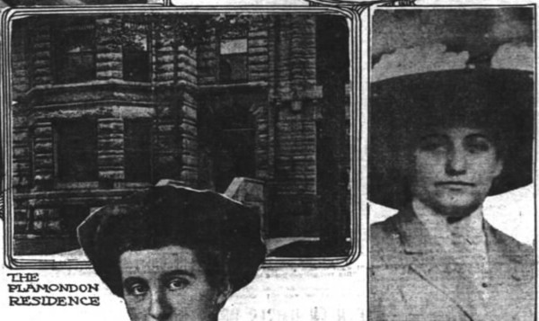 Mare Plamendon (right) and a bit of her home from the Chicago Daily Inter-Ocean, Aug 31, 1910