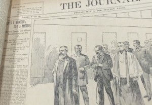 "Accompanying their drawing of the ""Death March,"" the NY Journal had the best headline: ""Lived a monster, died a mystery."" Library of Congress"