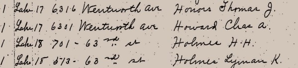 Detail of voter roll dated Oct 9, 1888. It's a clerk's handwriting, but that's definitely the same Holmes. It's the pre-1909 address of the castle.