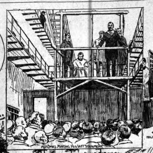 Holmes on the scaffold, sketched by the New York Tribune