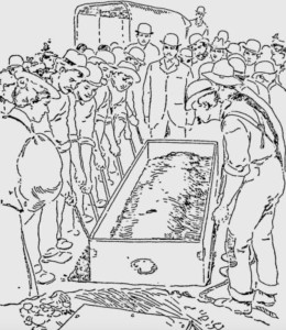 Holmes is lowered into the ground, as sketched by the Philadelphia Record. Not QUITE like Han Solo in carbonite, but....