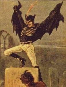 Spring-Heeled Jack, a Victorian London mystery.  This story keeps make me thinking of this 1904 image!