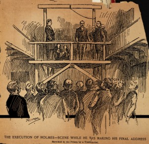 Philadelphia Times sketch of Holmes on the scaffold, tucked into the Library of Congress copy of his autobiography (thanks to Kate Ramirez)