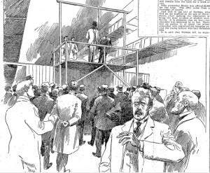 HH Holmes hanged, New York World, May 8, 1896. Gallows sketch, after the hood was added.