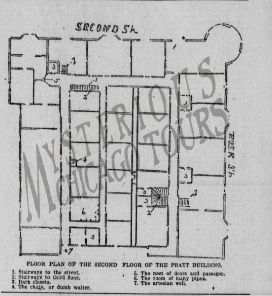 A diagram from the Galveston Daily News of the Fort Worth Castle HH Holmes build in 1894