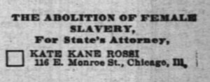 Kane-Rossi's name in a sample ballot in the Chicago Daily Inter-Ocean, October 1896